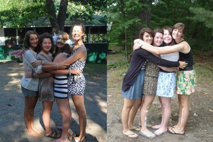 The Fab Four came into existence after a pretty quick best-friend-formingship at our summer camp, located almost in the middle of nowhere, which really is what makes it so beautiful and special. I thought I'd send in two pictures, almost identical, taken a year apart, of my very own Fab Four (from left: Devynn, Sara, Eden, Georgia). We're at camp in both pictures, the place where we reunite after failed attempts at daily phone calls and weekly letter writing at the beginning of July every year (we're all from different cities). —Jessica