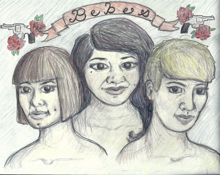 I got inspired by this month's theme last night and drew myself and my friends (aka las Bebes). Hope you like it! Our names are Melissa, Emily, and Britte. —Britte