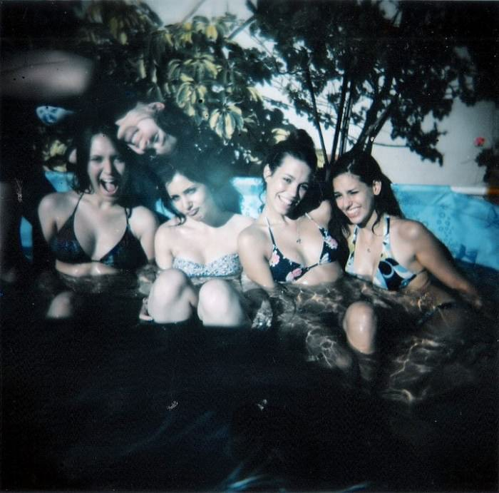 Nina, Lucía, Flor, Lula, and Pato. This is a photo of me and my group of friends in my friend's stupid pool. We call it that but we love it. —Lucia