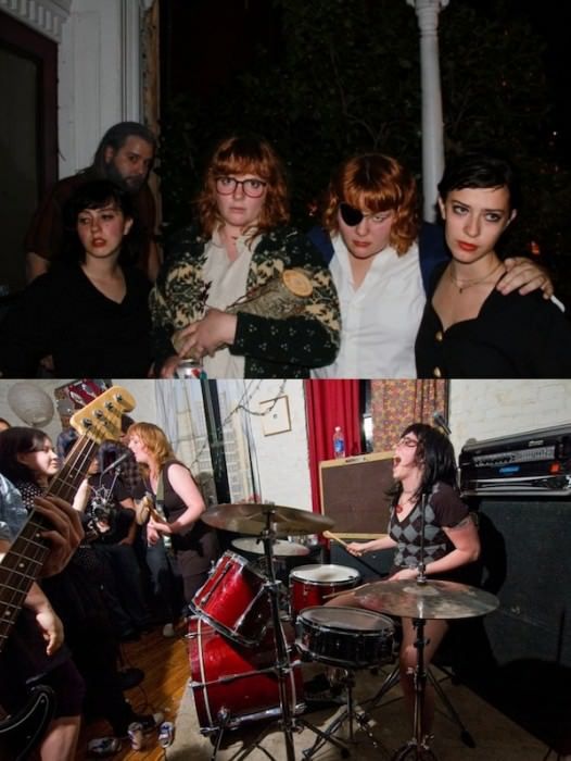 Our gang of lady friends on Halloween as Twin Peaks—me as Audrey Horne, Shannon as Log Lady, Rebecca as Nadine, and Sarah as Josie Packard. Cool! And  a picture of me and my best friend Shannon. Check out our band here. —Dominique