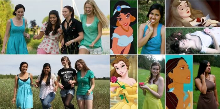 My friends and I are a girl gang. We do EVERYTHING together. The first photos are a comparison of us four and the four friends from The Sisterhood of the Traveling Pants. (We really do match the characters. It's creepy.) The second bunch are the Disney Princess photos we did at our college in California. Halstyn (Pocahontas and Lena) is a 20-year-old television and film major with a heart of gold. Jaryn (Halstyn's sister; Jasmine and Carmen) is a 19-year-old psychology major with a talent for music. Kaylee (Aurora and Tibby) is a 19-year-old photography major with an independent spirit. Caitlin (Belle and Bridget) is a 19-year-old studying to be a dental hygienist that loves reading and romance. —Kaylee