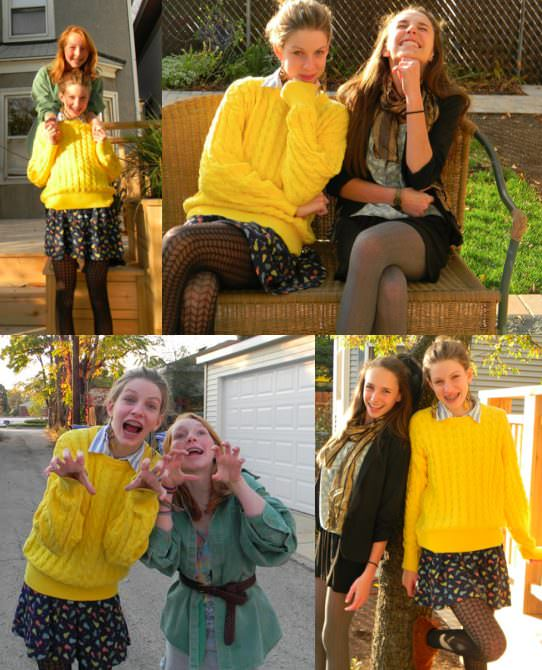 I would like to submit some pictures of me and my friends Marisa and Lucy. I am Claire. These pictures were taken on a great fall day. We are from Chicago and are the three best friends anyone can ever have. We enjoy dressing up, watching old movies, playing Super Mario Bros., and taking photos. I can be goofy and totally natural around them—and when I can be myself I know that I have found true friends. I am the blonde in the bright yellow sweater, Lucy is the redhead in the army-green shirt and boots, and Marisa is the brunette with the scarf. My blog is http://musicfashionandallthatjazz.blogspot.com, by the way. Love, Claire