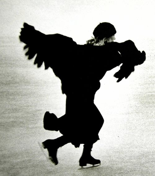 Joni Mitchell ice skating by Joel Bernstein