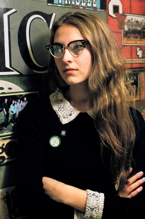 Anna wears dress from Nasty Gal, pins from the Drake General Store, and glasses from 69 Vintage.