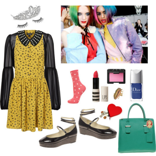 Clockwise from top left: Tiara, $28, Debenhams; Lashes, $15, Benefit; Yellow dress, $96, Topshop (similar); Bolero, $50, Mango; Leather collar, $85, Topshop (similar 1; 2) Meadham Kirchhoff Spring 2011 via Cool & Chic; Nail polish, $23, Nordstrom; Blush, $28, Barneys (similar); Beetle ring, $20, Topshop; Lipstick, $15, Topshop; Socks, $6, Topshop; Bowler bag, $72, Asos; Cameo brooch, $28, Amazon; Heart coin purse, $16, eBags; Mary Janes, $63, Asos.