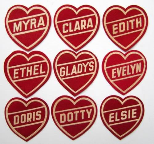 Vintage heart patches via Lisa Golightly.