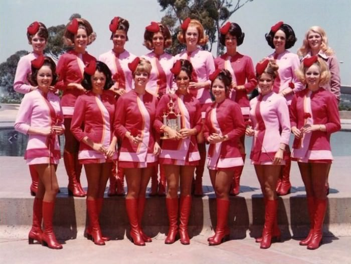 Flight attendant uniforms from the '60s and '70s.