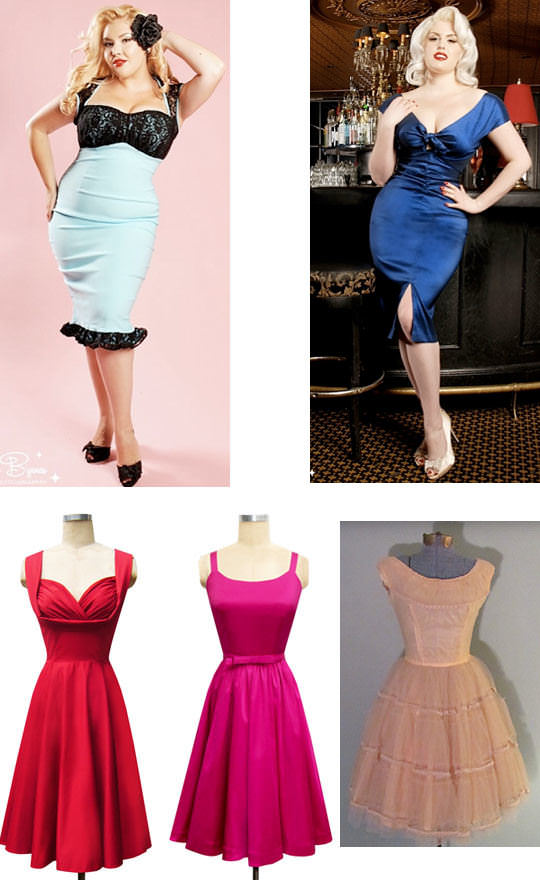 7326977d6077 Clockwise from top left: lace wiggle dress, Pinup Girl Clothing, $96;  Niagara dress, Pinup Girl Clothing, $102; peach dress, Etsy, $189; Annette  bow dress, ...