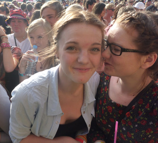 Megan and Aisling at a festival, waiting for Washington.