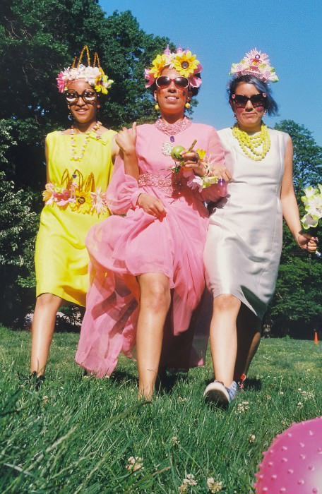 Jessica O. and Hilda each wear vintage dresses from Audrey Grace Boutique, sunglasses by Linda Farrow for Jeremy Scott. Jessica G. wears vintage dress from Audrey Grace Boutique, Kate Spade beads, and sunglasses by Agent Provocateur for Linda Farrow. All crowns by Lauren.