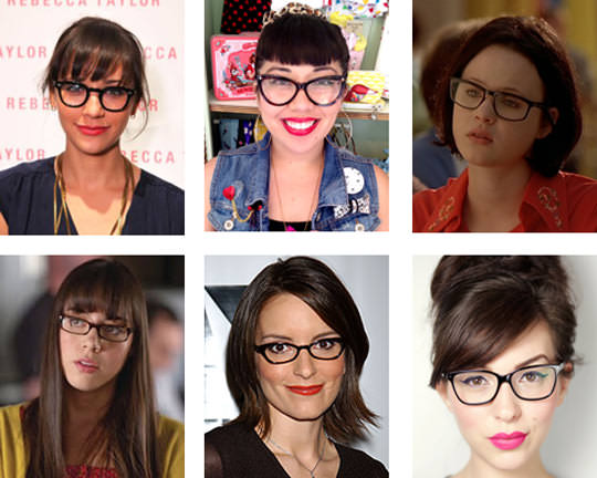 Clockwise from the top left: Rashida Jones; YOURS TRULY! That's right sister, it's me!; Enid from Ghost World; Keiko-Lynn; TINA FEY OF COURSE; and Aubrey Plaza.