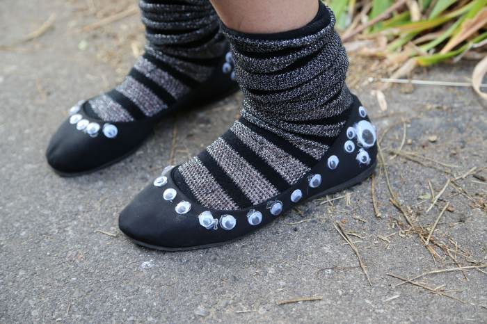 Yvonne, in Ann Arbor, had the genius idea to paste googly eyes onto a pair of canvas flats.