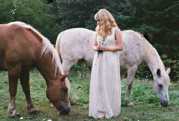 Me with Olivia's boyfriend's gorgeous horses at his family's farm we stayed at in Portland. Vintage dress.