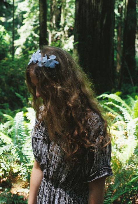 Anna in the Redwoods. DIY'd floral headband, Urban Outfitters dress.