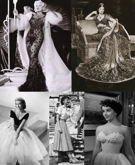 Some of Edith's most famous designs. From clockwise left: Mae West in She Done Him Wrong, Hedy Lamarr in Samson and Delilah, Elizabeth Taylor in A Place In The Sun, Audrey Hepburn in Roman Holiday and Grace Kelly in Rear Window.
