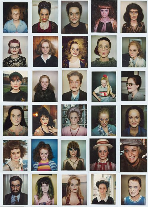 Polaroids of Amy Poehler as different characters of the Upright Citizens Brigade.