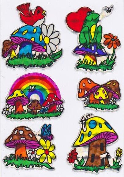 1980s mushroom stickers.