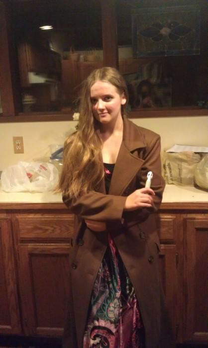 Hannah in her Doctor Who coat
