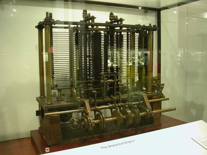 Trial model of a small part of the Analytical Engine, Science Museum, London, Photo by: Bruno Barral, Wikipedia Commons [LINK: http://en.wikipedia.org/wiki/File:AnalyticalMachine_Babbage_London.jpg ]