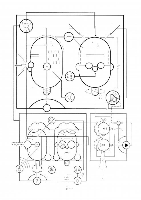 "Self portrait by Chris Ware, including his teenage, ""version 2.0 'stoner' self."""