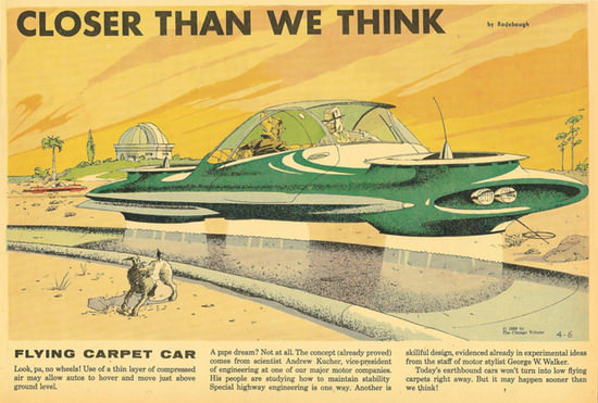 "The ""flying carpet car"" from the April 6, 1958, edition of Arthur Radebaugh's Closer Than We Think, via Smithsonian.com."