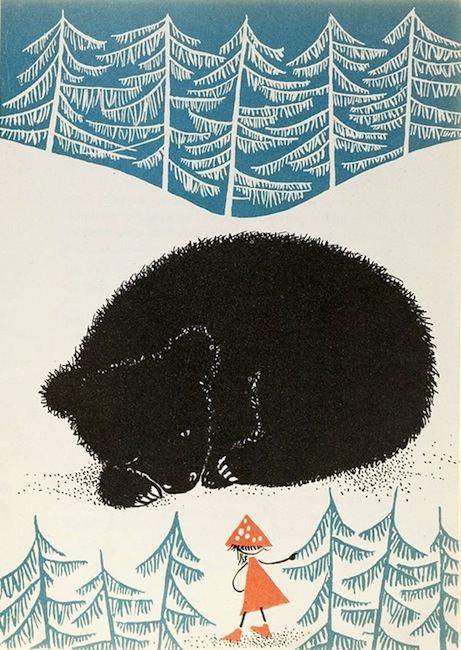 """Illustration by Zdzisław Witwicki for the 1960 Polish children's book Z Przygód Krasnala Hałabały (""""The Adventures of Hatabaty the Dwarf""""), via Hippopotamus Collection."""