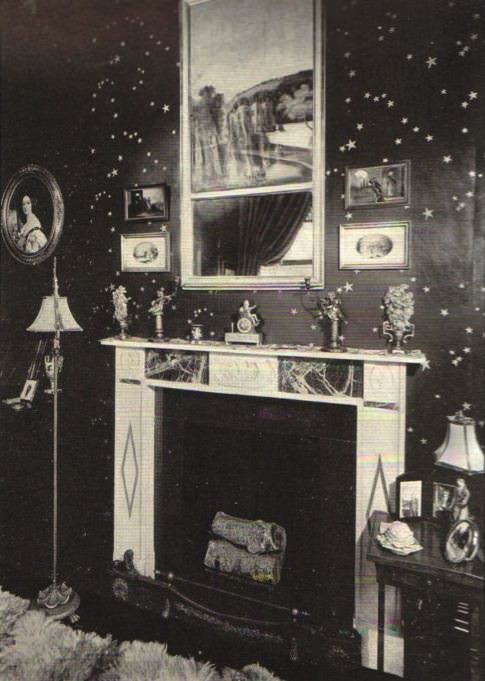 Galaxie wallpaper by Rose Cumming, in her own home circa 1929, via Design Crisis.
