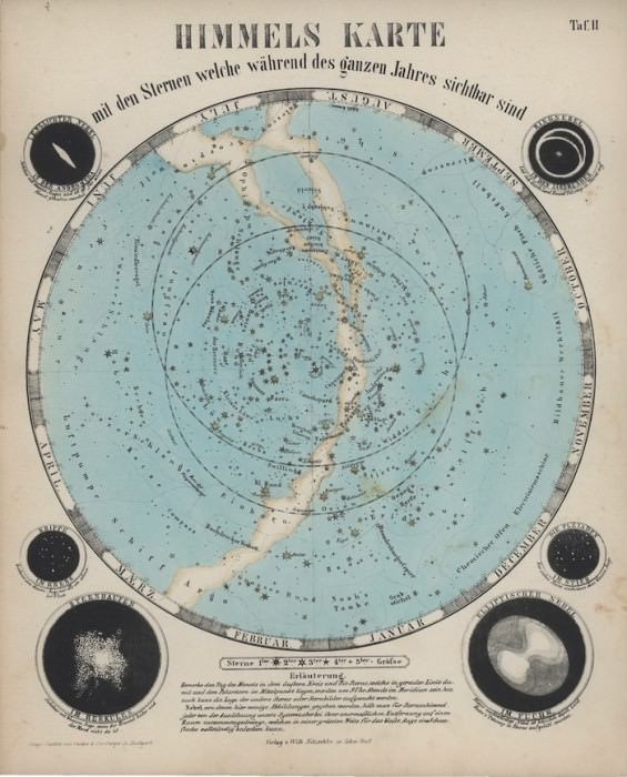 """Chart of the Heavens Showing the Stars Visible on any Night Throughout the Year,"" from Astronomischer Bilder-Atlas by W. Nitzschke, circa 1870. Via the Linda Hall Library."