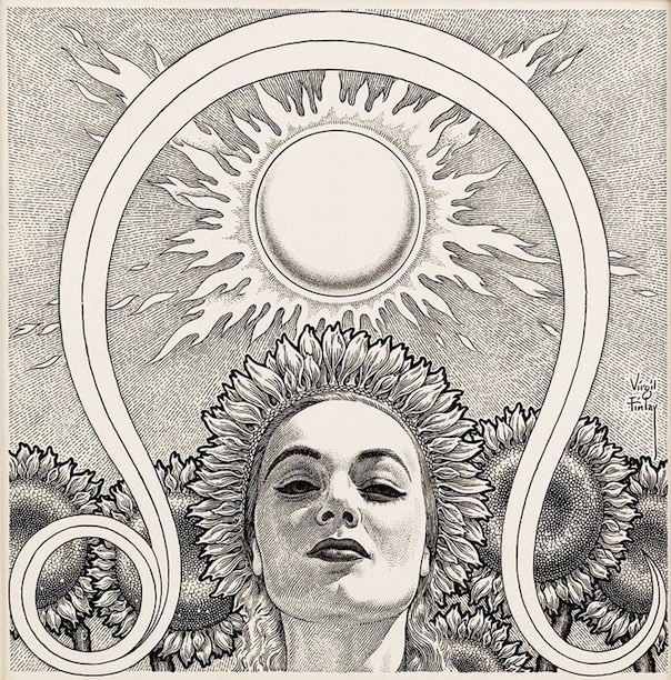 Illustration for Astrology magazine by Virgil Finlay, circa 1950s; via 50 Watts.