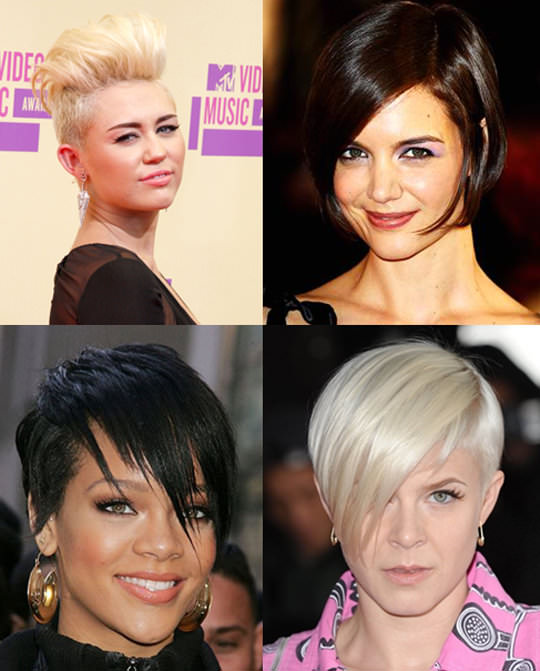 Clockwise from rop left: Miley Cyrus, Katie Holmes, Robyn, and Rihanna