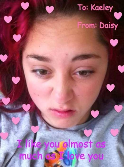 These valentines are all ones that Daisy gave Kaeley this year.