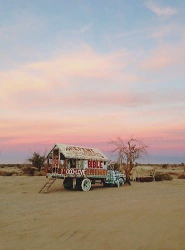 Photo of Leonard Knight's truck at Salvation Mountain; source unknown.