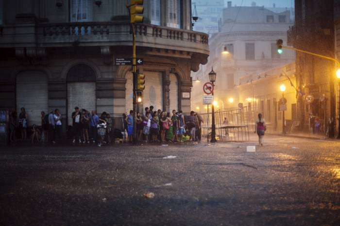 A flash flood in San Telmo, the city's oldest neighborhood.