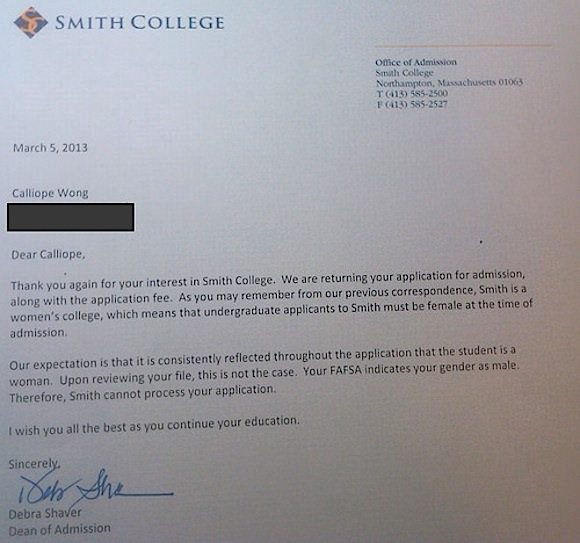 The letter Calliope Wong received this month from Smith College.