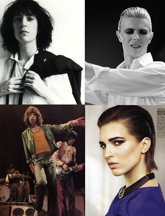 Clockwise from top left: Patti Smith, David Bowie, Mick Jagger, and unknown model