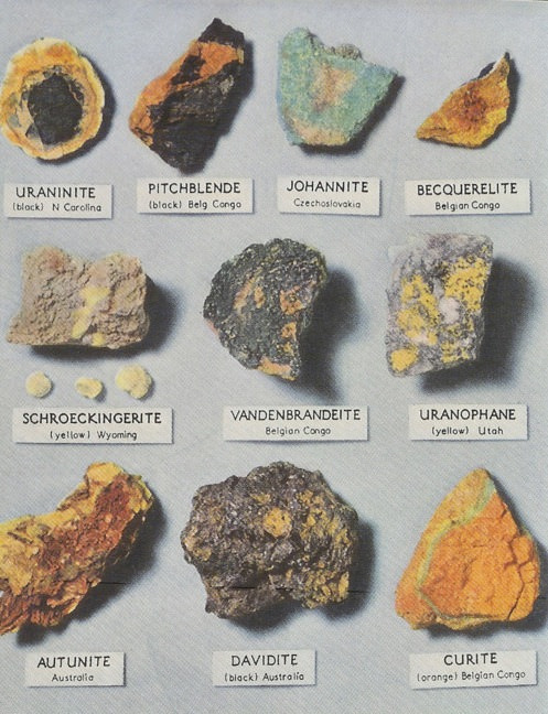 Uranium ore minerals, from National Geographic.