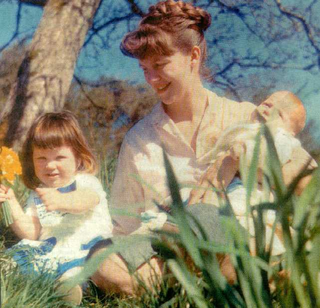 Sylvia Plath and her children, Frieda and Nicholas, photographed by Siv Arb.