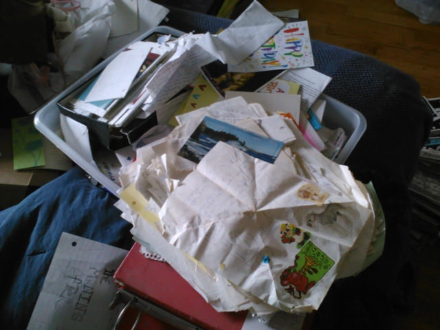 A bin of letters from my friends.
