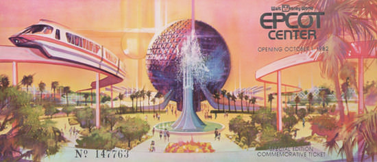 1982 Walt Disney World Epcot Center grand-opening ticket stub, via Everything Collectibles.
