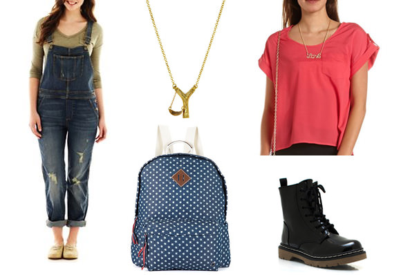 Clockwise from far left: Overalls, $28, J.C. Penney; brass slingshot necklace, $50, Threadflip, short sleeve top, $20, Charlotte Russe, combat boots, $33, GoJane.com, Backpack,$30, Macy's.