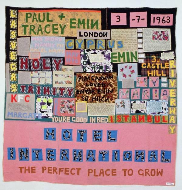 Hotel International, blanket by Tracey Emin, 1993.