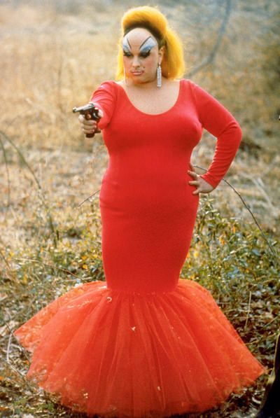 Divine in Pink Flamingos, 1972.