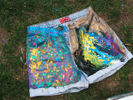 DIY Painted Denim Shorts