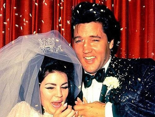 Priscilla and Elvis Presley on their wedding day. (Getty Images/Michael Ochs Archives/Stringer)