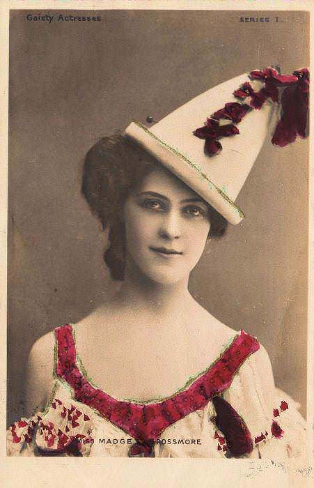 The actress Madge Rossmore in a Pierrot hat. Postcard, 1904, via Polyvore.
