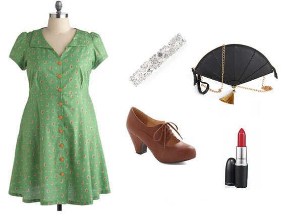 Clockwise from left: Dress, $90, ModCloth; rhinestone hair clip, $13, Claire's; fan purse, $45, ModCloth; lipstick in Dubonnet, $15, M.A.C.; heels, $70, ModCloth.