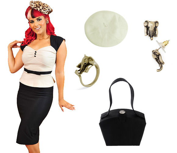 Dress, $100, Daddyos.com; Trumpets for Crumpets ring in gold, $10, ModCloth; cream beret, $6, Sourcingmap.com; Near and Safari earrings, $10,ModCloth; Milena grosgrain vintage evening purse, $98, Pinup Girl Clothing.