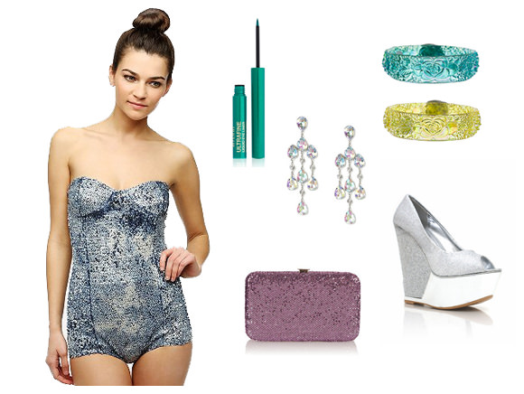 Clockwise from left: Sequined bodysuit, $30, Urban Outfitters; Milani Ultrafine Liquid Eyeliner, $8, Milani Cosmetics; crystal drop earrings, $13, Claire's; Vintage bangles, $12, Trashy Diva; sparkly wedge heels, $36, Go Jane; glitter phone purse, $6, Topshop.
