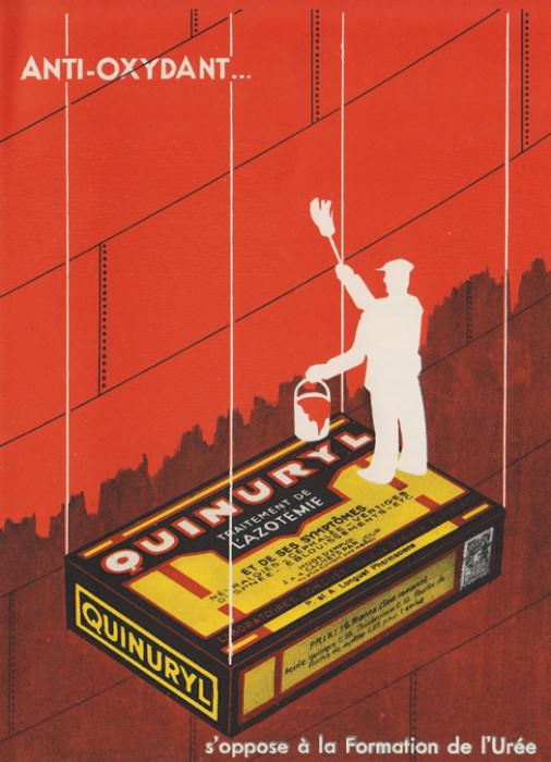 French ad for Quinuryl antioxidant, 1930s, via 50 Watts.