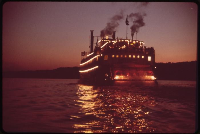 Paddlewheel Steamboat on Ohio River, May 1972 by William Strode, via the U.S. National Archives Flickr.